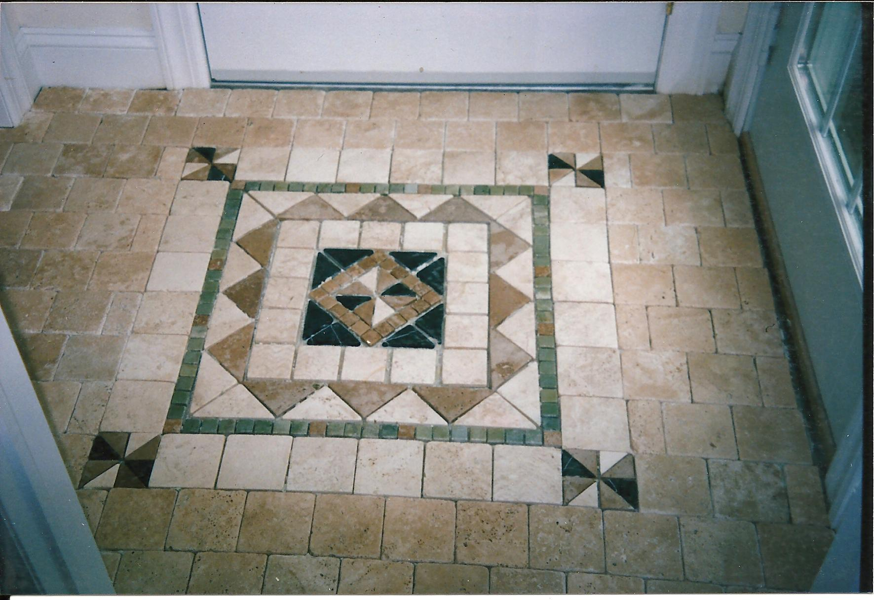 Patterned marble floor tiles