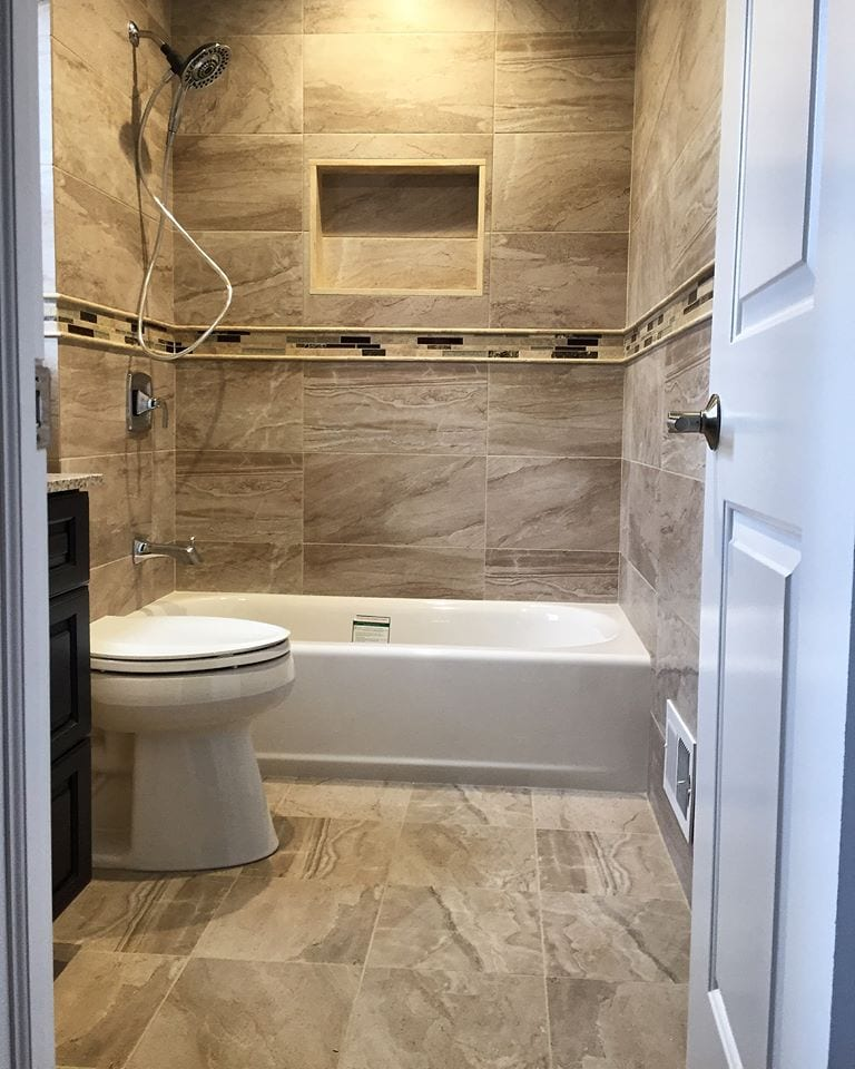 Marble wall and floor tiles in a bathroom